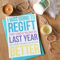 I feel like regifting is the ultimate snarky maneuver.  Luckily I made you this card to send instead. Skip regifting  give some chuckles for Christmas instead.  The inside of this card is blank so it's perfect for whatever holiday you prefer. Or hey could even work for birthdays!  Grab this jank in the shop live link in le profile! THESNARKSHOP.COM  get some by thesnarkshop