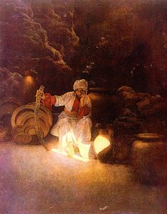 "Artist Maxfield Parrish. Picture of the brother of Ali Baba: ""Cassim ... was so alarmed at the danger he was in that the more he endeavoured to remember the word Sesame the more his memory was confounded"".  Date 1909"
