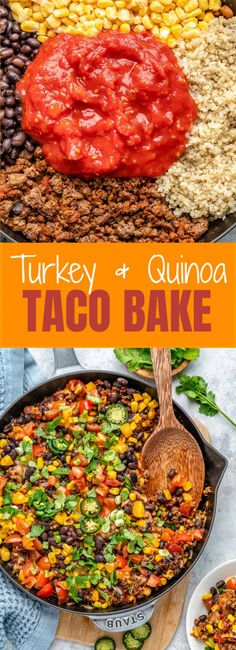 {NEW} Turkey + Quinoa Taco Bake 🍅🌮🥑 Our family loves to celebrate Taco Tuesday (okayyyy tacos anyday, but still), so keeping with that tradition I give you: Taco Bake, Beef Recipes, Cooking Recipes, Healthy Recipes, Healthy Food, Recipies, Yummy Food, Quinoa Tacos, Quinoa Bowl