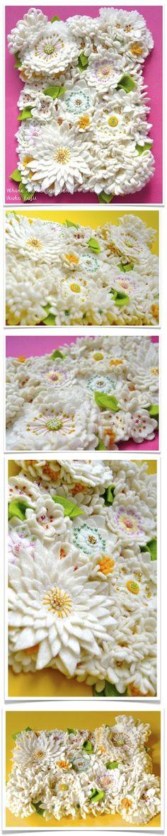 IKUKO FUJII: Table Felt: White Flower Garden フェルト の 絵画