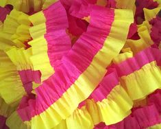 Bombay Pink and Canary Yellow Ruffled Crepe Paper Streamers - 36 Feet - Party Decor Hanging Decoration Supplies by CharmiosCraftParty on Etsy https://www.etsy.com/listing/269148100/bombay-pink-and-canary-yellow-ruffled