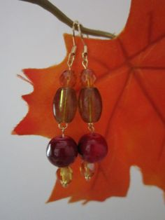 Autumn Deep Red Gold and Green Glass Bead by BeadazzlingButterfly, $12.00