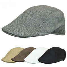 Cotton Mens Beret Button Decor Sport Sun Visor Flat Cap Visors for Men Cotton Flat Cap Ivy Duckbill Cap