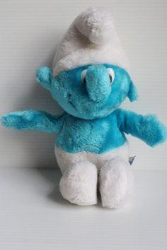 SMURF Stuffed Animal, 1981 Vintage plush, Vintage Wallace Berrie stuffed animal, vintage blue plush, retro Peyo plush, gift for child