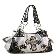 Embellished Silver Cross Purse