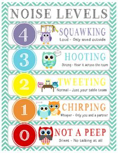Owl Voice/Noise Levels - Turquoise & White Polka Dot Owl Voice/Noise Levels Chart - Turquoise & White Polka Dot An effective classroom management strategy to control voice and noise level in your classroom. Owl Classroom Decor, Classroom Behavior, First Grade Classroom, Classroom Design, Kindergarten Classroom, Future Classroom, Classroom Themes, Classroom Organization, Classroom Rules