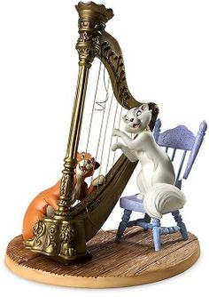 WDCC Disney Classics The Aristocats Duchess And Omalley Plucking The Heart Strings #WDCCDisneyClassics #Art. Chair Legs: Pewter. Lute Chord: Brass. Chair Back Rest: Pewter. This particular musical moment was animated by Disney Legend Ollie Johnston. Note: the sculpture's broken harp string and broken chair that are true to the film moment. Duchess and O'Malley are a Numbered Limited Edition (NLE) of 1,000.