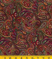 Keepsake Calico Fabric- Autumn Festival Paisley With Glitter