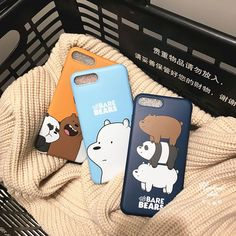 Newest South Korea Three Bears Bare Bear Soft Silicone Phone Case For iphone 7 6 plus Cute Funny Cartoon Back Cover Iphone 7, Case Iphone 6s, Diy Phone Case, Cute Phone Cases, We Bare Bears, Capas Iphone 6, Made Design, Wallpaper Fofos, Cute Funny Cartoons