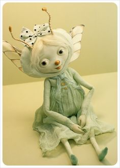 Dragonfly ooak Art Doll - Handmade Art doll - Fairy Tale - Doll - Imaginary Friends- Green Doll