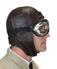 Leather Aviator Helmet - Brown