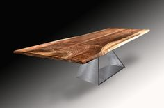 Live Edge Black Walnut Solid Wood Slab Dining Table with Massive Folded Trapezoid Base in Brushed Steel by Jeffrey Greene Wood Slab Dining Table, Dining Tables, Walnut Slab, Studio Living, Live Edge Wood, Conference Table, Furniture Making, Solid Wood, Base