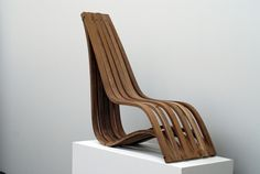Bent Wood Chair. Two simple bends, floating contour. By Justin Mast
