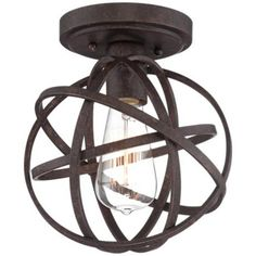 "Industrial Atom 8"" Wide Edison Bronze Ceiling Light -"
