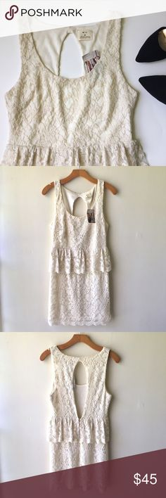 Urban Outfitters Lace Peplum Open-Back Dress This gorgeous, soft, cream-colored lace dress from Pins and Needles at Urban Outfitters is BRAND NEW with tags! Never worn! Flattering peplum & cut-out back details. Just love the scalloped hems! Clasp and hidden zipper in back. Size M, true to size. Would fit a 6-8. Lovely dress for anything from a wedding reception to a date night! Dress it up or down. You could even pair it with some leggings and a moto jacket for Fall! Urban Outfitters Dresses…