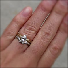 Pear Moissanite Twig Engagement Ring in Yellow or by kristincoffin, $1200.00