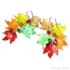 Fall Leaf Earrings Red Orange Yellow Green by whimsydaisydesigns