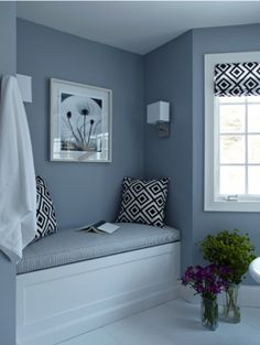 I really like reading nooks like this one. Also, love the grey.