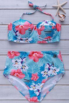 Tropical Print High-Waisted Bikini Set