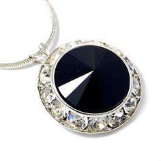 Framed Jet Black Crystal Pendant Necklace Made with Swarovski Elements