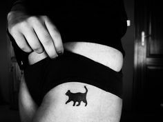Small black cat tattoo. I WILL get this! My baby girl Cherry is the most sweet pet I've ever had and I love her to death! So much, I will ink her up on my skin someday (: