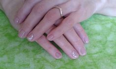 Cute nude nail design - CN One step crystalac (OS64) with white dots