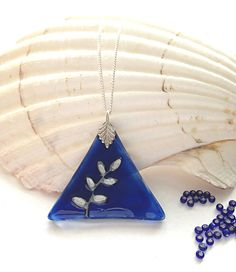 Glass Pendant in Dark Blue with Silver Leaves  by witchcorner, £15.00