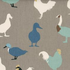 Denim Cock-A-Leekie Curtain Fabric | Grey and Blue | Cheap UK Delivery