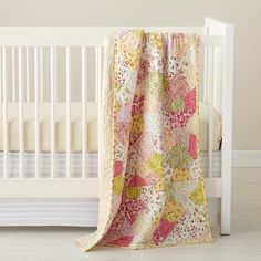 The Land of Nod | Baby Crib Bedding: Yellow and Pink Floral Crib Bedding in Crib Bedding