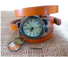 Montre vintage en cuir orange et sequin capel : Montre par crocmyys