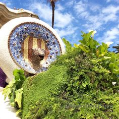 Park Guell, highlighting some of the exquisite tile mosaics. It's a UNESCO World Heritage Site under 'Works of Antoni Gaudi. Tile Mosaics, Antoni Gaudi, Heritage Site, Barcelona, Spain, History, Architecture, World, Building