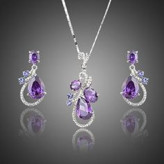 AZORA Lastest Issued Purple Top grade Cubic Zirconia Water Drop Earrings and Pendant Necklace Jewelry Sets Art Deco Necklace, Art Deco Jewelry, Cute Jewelry, Necklace Set, Jewelry Sets, Jewelry Necklaces, Jewelry Design, Pendant Necklace, Stylish Jewelry