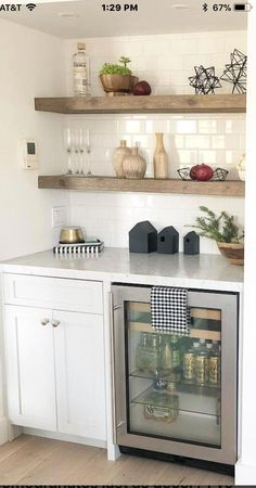 Subway tile and natural shelves for kitchen 😍 Subway tile and natural shelves for kitchen 😍, Kitchen Shelves, Kitchen Redo, Kitchen Remodel, Basement Renovations, Home Remodeling, Basement Kitchenette, Basement Laundry, Basement Bars, Basement Ideas