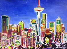 Neon Shimmering Skyline of Seattle With Space Needle with
