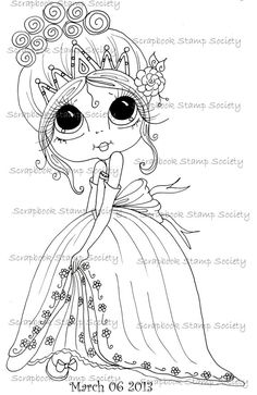 INSTANT DOWNLOAD Digi Stamps Big Eye Big Head Dolls Digi IMG668 Princess Twinlke Toes By Sherri Baldy