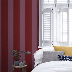 This Sophie Conran Palais Stripe Flock Wallpaper features a raised flock classic stripe pattern in rich scarlet red set on a matte soft plum background. Dark Red Wallpaper, Flock Wallpaper, Textured Wallpaper, Wall Wallpaper, Sophie Conran, Red Plum, High Quality Wallpapers, Stripes Design, Flocking