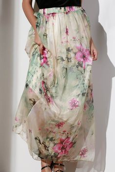 Floral Elastic Waist A Line Skirt