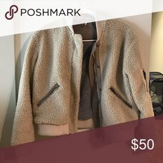 Free People Fuzzy Bomber Jacket Super comfy and warm bomber Free People Jackets & Coats