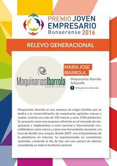 """Como Directora de Maquinarias Ibarrola quiero agradecer a Jóvenes Empresarios de la Federación Económica de la Provincia de Buenos Aires (JEFEBA)  por habernos incluido en la Terna """"Relevo Generacional"""" en el marco del Premio Joven Empresario Bonaerense 2016. Maquinarias Ibarrola fue seleccionada entre más de 900 inscriptos y ha sido un honor formar parte de este proceso""""   María José Ibarrola"""