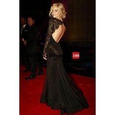 Samara Black Lace Long Sleeve Open Back Gown - ♥