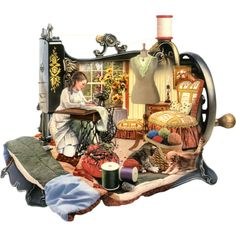 Challenge yourself with this Sewing Machine jigsaw puzzle for free. Sewing Art, Sewing Rooms, Love Sewing, Sewing Crafts, Sewing Projects, Holly Hobbie, Images Victoriennes, Decoupage, Antique Sewing Machines
