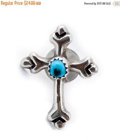 Turquoise Silver Sand Cast Cross Tie Tack, Sterling Silver Turquoise tie tack , Handmad Tie Tack, Vintage Tie Tack, Handmade Vintage gift