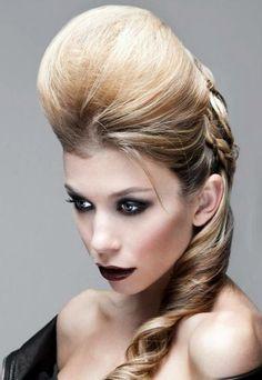 Hair & makeup by TJ Romeland  Bouffant ponytail, dark makeup
