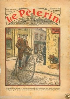 Penny-farthing-Cyclist-Velocipede-Bicycle-Velo-London-England-1934-ILLUSTRATION