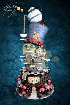 Alice in Wonderland Wedding Cake by StickySponge - http://cakesdecor.com/cakes/226841-alice-in-wonderland-wedding-cake