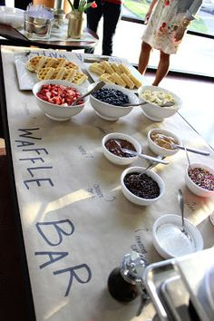 I just like the butcher paper idea for buffet style food @ wedding or parties. I will have to use this idea for my ice cream sundae bar for my easter egg hunt.  Can't wait!.