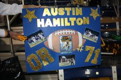 Juniors present Senior Football Players & Trainers with a Good Luck Poster Football Mums, Football Banner, Football Signs, Football Cheer, High School Football, Football Season, Football Players, Homecoming Poster Ideas, Pep Club