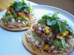 Rotisserie Chicken Tostadas. sub whole wheat tostadas.