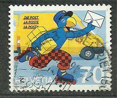 """Switzerland, Helvetia, 1997, Mi 1610, Comic figure """"Globi"""" as postman, U"""