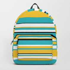 Complex Stripes - Turquoise and Yellow Backpack by laec Yellow Backpack, D Craft, Designer Backpacks, Beautiful Bags, One Size Fits All, Fashion Backpack, Laptop, Handle, Stripes